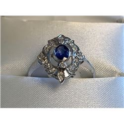 Ladies 14Ktwhite gold custom cast vintage style Diamond and Blue Sapphire Ring with appraisal $3045.