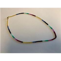 Multi Gemstone ladies necklace 14KT Gold, 38 carat Gemstone weight appraisal $3919.00