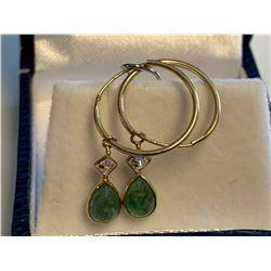 Ladies 1.5 carat Emerald Pear Cut Earrings set in 14K Gold, with appraisal$1200.00