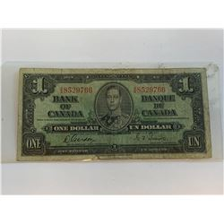 Vintage Bank of Canada 1937 $1.00 Bill with Gordon & Towers Signature