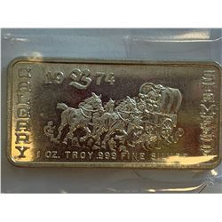 Calgary Stampede 1974 Commemorative .999 one troy ounce Fine Silver Wafer Bar