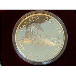 Royal Canadian Mint 1886-1986 inauguration of the transcontinental railroad silver commemorative cas
