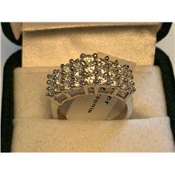 Ladies .925 Silver multi Gemstone Cluster Dress Ring