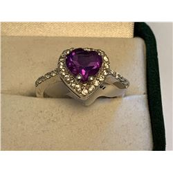 Ladies Heart Cut amethyst Solitaire Cluster Dress Ring