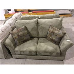 NEW Living room sofa suite includes Olive Green over stuffed pillow back design sofa with matching l