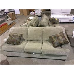 NEW Upholstered 3 seat Living room sofa with throw cushions - olive color