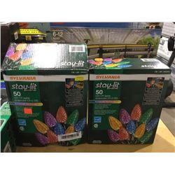 Stay-Lit 50 LED C9 Lights Multi-Color Lot of 2