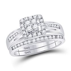 Diamond Cluster Bridal Wedding Engagement Ring Band Set 1/2 Cttw 10kt White Gold