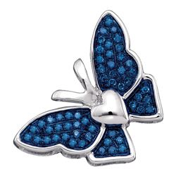 Round Blue Color Enhanced Diamond Butterfly Bug Pendant 1/6 Cttw 10kt White Gold