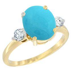 2.60 CTW Turquoise & Diamond Ring 14K Yellow Gold - REF-73M9K