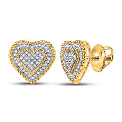 Diamond Roped Heart Cluster Screwback Earrings 1/3 Cttw 10kt Yellow Gold