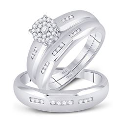 His Hers Diamond Cluster Matching Bridal Wedding Ring Band Set 1/3 Cttw 10kt White Gold
