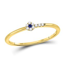 Round Blue Sapphire Diamond Stackable Band Ring 1/12 Cttw 10kt Yellow Gold