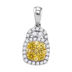 Round Yellow Diamond Cluster Pendant 3/4 Cttw 14kt White Gold