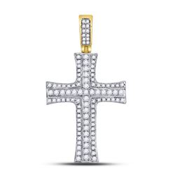 Mens Diamond Cross Charm Pendant 1-1/2 Cttw 14kt Yellow Gold