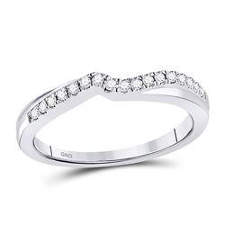 Diamond Contoured Enhancer Wedding Band 1/8 Cttw 10kt White Gold
