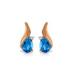 Genuine 5.06 ctw Blue Topaz & Diamond Earrings 14KT Rose Gold - REF-54M2T