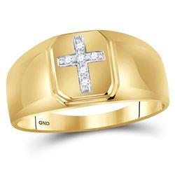 Mens Diamond Cross Band Ring 1/20 Cttw 10kt Yellow Gold