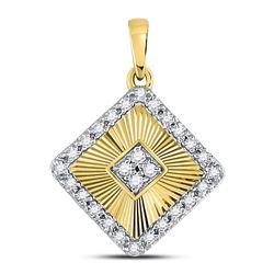 Diamond Diagonal Square Pendant 1/6 Cttw 10kt Yellow Gold