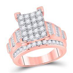 Diamond Cindys Dream Cluster Bridal Wedding Engagement Ring 2.00 Cttw 10kt Rose Gold