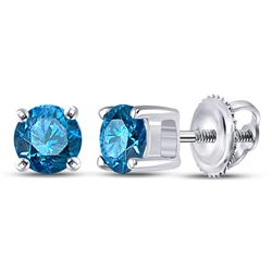 Blue Color Enhanced Diamond Solitaire Screwback Stud Earrings 1/2 Cttw 10k White Gold