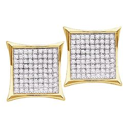 Diamond Square Kite Cluster Stud Earrings 1/10 Cttw 14kt Yellow Gold