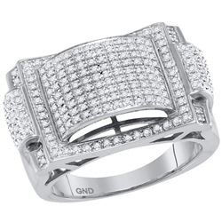 Mens Round Pave-set Diamond Dome Convex Cluster Ring 5/8 Cttw 10kt White Gold