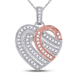 Diamond Heart Milgrain Stripe Pendant 1/5 Cttw 10kt Two-tone Gold