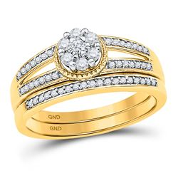 Diamond Cluster Bridal Wedding Engagement Ring Band Set 1/4 Cttw 10kt Yellow Gold