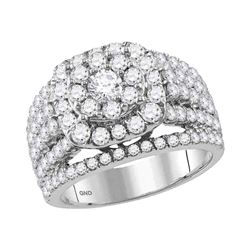 Diamond Cluster Bridal Wedding Engagement Ring 3.00 Cttw 14kt White Gold