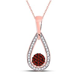 Round Red Color Enhanced Diamond Teardrop Cluster Pendant 1/6 Cttw 10kt Rose Gold
