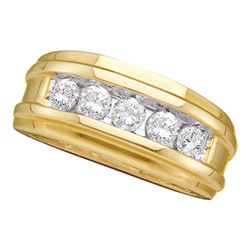 Mens Diamond Wedding Channel Set Band Ring 1/2 Cttw 14kt Yellow Gold