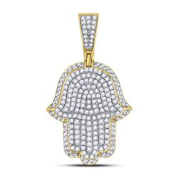 Mens Diamond Hamsa Hand of Fathima Charm Pendant 1-1/4 Cttw 10kt Yellow Gold