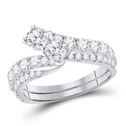 Diamond Bridal Wedding Engagement Ring Band Set 1-1/2 Cttw 14kt White Gold