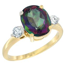 2.60 CTW Mystic Topaz & Diamond Ring 14K Yellow Gold - REF-68M6K