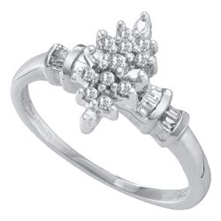 Round Prong-set Diamond Marquis-shape Cluster Ring 1/6 Cttw 10kt White Gold