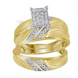Diamond Cluster Matching Trio His & Hers Wedding Ring Band Set 1/3 Cttw 10k Yellow Gold