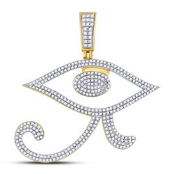 Mens Diamond Eye of Ra Egyptian Charm Pendant 1.00 Cttw 10kt Yellow Gold