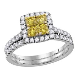 Canary Yellow Diamond Square Cluster Bridal Wedding Ring Set 1-1/4 Cttw 14kt White Gold