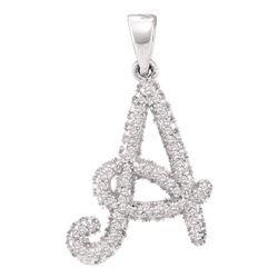 Diamond Letter A Pendant 1/5 Cttw 10kt White Gold