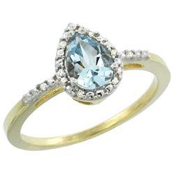 1.55 CTW Aquamarine & Diamond Ring 10K Yellow Gold - REF-25Y6V