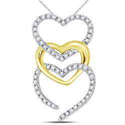Diamond Triple Cascading Heart Pendant 1/6 Cttw 10kt Two-tone Gold