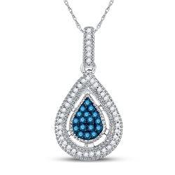 Round Blue Color Enhanced Diamond Teardrop Cluster Pendant 1/5 Cttw 14kt Yellow Gold