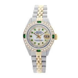 Rolex Pre-owned 26mm Womens Custom String White MOP Two Tone - REF-540H4N