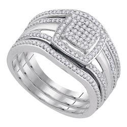 Diamond Square Bridal Wedding Engagement Ring 3-Piece Set 1/3 Cttw 10kt White Gold