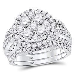 Diamond 3-Piece Bridal Wedding Engagement Ring Band Set 2-1/2 Cttw 14kt White Gold