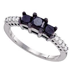 Round Black Color Enhanced Diamond 3-stone Bridal Wedding Engagement Ring 1.00 Cttw 10kt White Gold