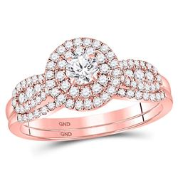 Diamond Halo Bridal Wedding Engagement Ring Band Set 3/4 Cttw 14kt Rose Gold