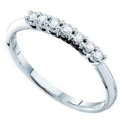 Round Pave-set Diamond Slender Wedding Band 1/5 Cttw 14kt White Gold