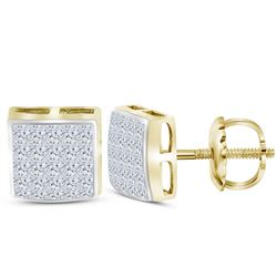 Diamond Square Cluster Stud Earrings 5/8 Cttw 14kt Yellow Gold